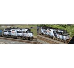 Rapido #80561 F40PH-2D Locomotives w/DC/DCC&Sound - VIA Coors Light Silver Bullet Express #6408/6445 (2pcs)