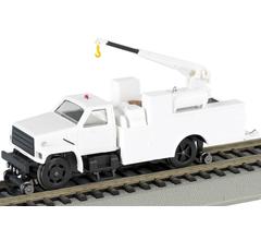 Bachmann #16901 HO HI Rail Equipment Truck with Crane (DCC on Board) - WHITE