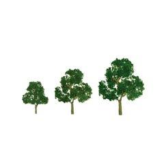 """JTT #92128 Deciduous Trees - Green 1-1/2 - 2"""" (10pcs)"""