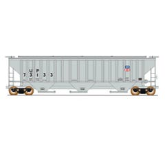 InterMountain #453111 4750 Cubic Foot Rib-Sided 3-Bay Covered Hopper - Union Pacific - 3rd Panel Shield