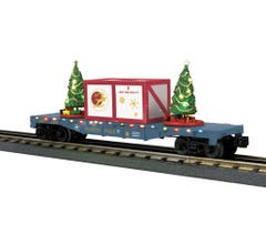 MTH 30-76775 North Pole Flat Car w/Lighted Christmas Trees- Gray