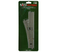 """Kato #2-840 #4 246mm (9 3/4"""") Manual Left Turnout with 490mm (19 1/4"""") Radius Curve"""