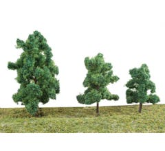 """Walthers #949-1184 Summer Trees pkg(10) 3-3/8 to 5-1/2"""" 8 to 14cm w/Pin Base"""