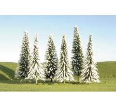 """Bachmann #32102 3"""" - 4"""" Pine Trees with Snow nine pieces per pack"""