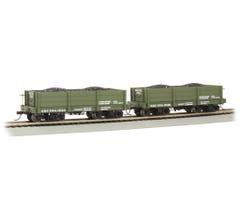 Bachmann #26534 18 ft. Low-Side Gondola - QMC #121235 & #121247 - Green (2/box)
