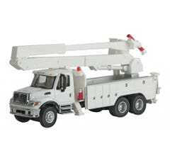 Walthers #949-11754 International 7600 Utility Truck with Bucket Lift - White w/Decals