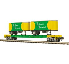 MTH #20-95381 Flat Car w/(2) PUP Trailers - Illinois Terminal