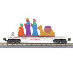 MTH 30-76789 Christmas Flat Car w/Lighted Wise Men Scene- White