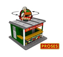 Williams #39121 O Scale Pizza Stand w/Light & Rotating Sign- KIT
