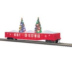 MTH #85-72036 Christmas 70-Ton Mill Gondola Car w/Lighted Christmas Trees - Christmas (Red)