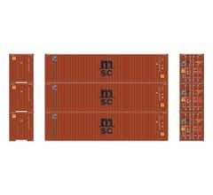 Athearn #27042 40' Corrugated HC ContainrMSC/Florens#1(3)