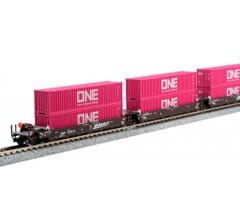 """Kato #106-6195 N Gunderson MAXI-I Double Stack Car BNSF """"Swoosh"""" - 5-Unit Well Car includes 10 x ONE Magenta 40' Containers"""