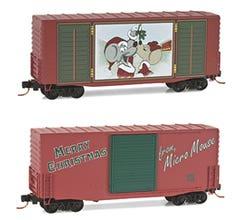 Micro Trains #10100720 40' Hy-Cube Box Car 2012, Micro-Mouse under the Mistletoe Christmas Car