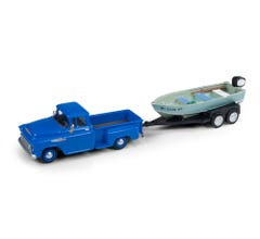 Classic Metal Works #40012 1957 Chevy Step Side Pickup Truck w/Fishing Boat & Trailer