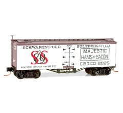 Micro Trains #05800150 36' Wood Reefer with Truss Rod Underframe, Schwarzschild and Sulzberger (Majestic Hams and Bacon) #2025