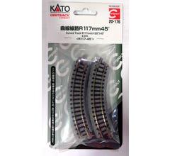 """Kato #20-176 Unitrack Compact 117mm (4 3/5"""") Radius 45º Curve Track [4 pcs];"""