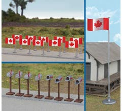Walthers #949-4172 Canadian Flags and Mailboxes