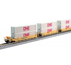 """Kato #106-6196 N Gunderson MAXI-I Double Stack Car TTX """"New Logo"""" - 5-Unit Well Car includes 10 x ONE Gray 40' Containers"""