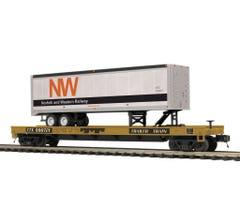 MTH #20-95421 N&W Rail Flat Car w/ 40' Trailer