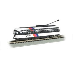 Bachmann #60506 NJ Transit PCC Street Car with Sparking Trolley Pole (DCC Sound Value-Equipped)