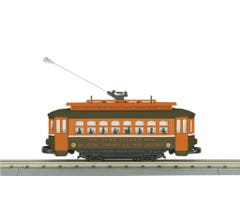 MTH #30-5185 Long Island (Orange Roof) Bump-n-Go Trolley (Trainworld Exclusive)
