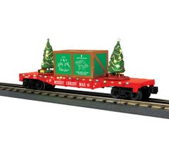 MTH 30-76821 Flat Car w/Lighted Christmas Trees - (Red)
