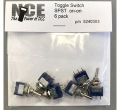 NCE #5240303 6 pack On/On SPST Toggle Switch 5a /125v 1/4 (6.35mm) mounting hole TS6S