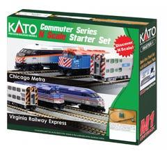 Kato #106-0037 F40PH and Gallery Bi-Level Commuter Series Starter Set - Chicago Metra (new paint)