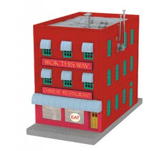 MTH 30-90540 3-Story City Building w/Fire Escape & Blinking Sign - Wok This Way Chinese Restaurant