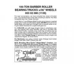 Micro Trains #00302080 100-TON Barber Roller Bearing Truck (1PR)