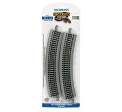 "Bachmann #44501 18"" Radius Curve Nickel Silver E-Z Track w/Grey Roadbed (4)"