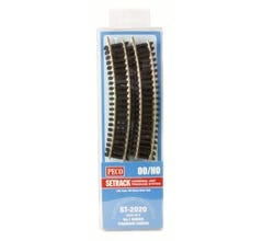 """Peco #ST2020 Code 100 Nickel Silver Standard 22.5 Degree Curved Section - Setrack -- 14-5/8"""" 37.1cm (1st) Radius pkg(8)"""