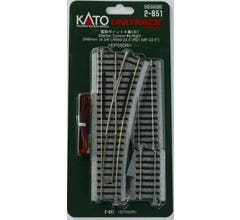 """Kato #2-851 #4 246mm (9 3/4"""") Powered Right Turnout with 550mm (21 5/8"""") Radius Curve"""