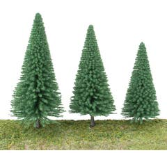 """Walthers #949-1180 Pine Trees pkg (10) 3-3/8 to 5-1/2"""" 8 to 14cm With Pin Base"""