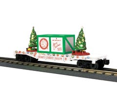MTH 30-76774 Christmas Flat Car w/Lighted Christmas Trees- White