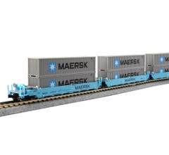Kato #106-6198 N Gunderson MAXI-I Double Stack Car MAERSK - 5-Unit Well Car includes 10 x ONE MAERSK 40' Containers