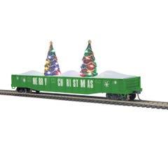 MTH #85-72037 Christmas 70-Ton Mill Gondola Car w/Lighted Christmas Trees - Christmas (Green)