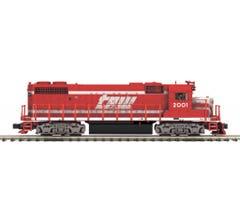 MTH #20-21223-1 GP38-2 Diesel Engine With Proto-Sound 3.0 (Hi-Rail Wheels) - Toledo, Peoria & Western #2001