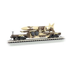 Bachmann #71397 52' Center-Depressed Flat Car- Desert Military with Missile