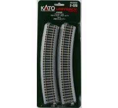 """Kato #2-220 24"""" R Curve 22.5 Degree Track (4)"""