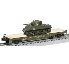 Lionel #1926752 US Army 40' Flatcar with Sherman Tank #35359