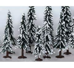 """JTT #92077 Snow Evergreen Trees 3"""" to 5"""", HO-scale, 10/pk"""