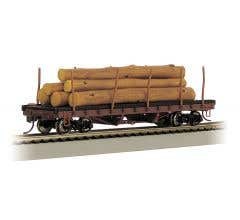 Bachmann #18332 ACF 40' Log Car with Painted Resin Logs 1906-1935 Version