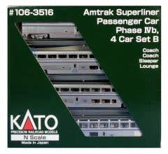 Kato #106-3516 N SUPERLINER I AMTRAK PH VI SET B