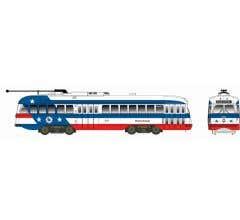 Bowser #12928 Kansas City Style Post-War PCC Streetcar w/LokSound & DCC Bicentennial Scheme -Pennsylvania #2251 (white blue red)