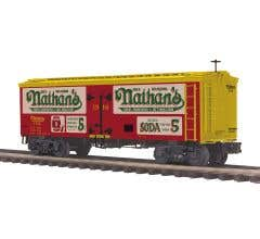 MTH #20-94535 36' Woodsided Reefer Car - Nathan's RED #1916 (Trainworld)