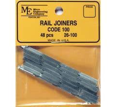 Micro Engineering #26-100 HO Rail Joiners, Metal Code 100 Slip-On (48)
