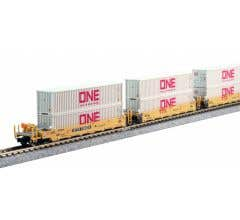 """Kato #106-6197 N Gunderson MAXI-I Double Stack Car TTX """"New Logo"""" - 5-Unit Well Car includes 10 x ONE Gray 40' Containers"""