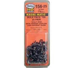 "Kadee #156-25 ""Scale"" All Metal Self-Centering WHISKER Coupler - Long (25/64"") Centerset Shank Bulk Pack (25 Pairs)"