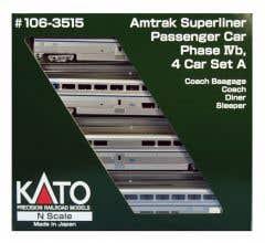 Kato #106-3515 N SUPERLINER I AMTRAK PH VI SET A